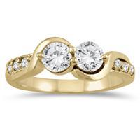 7/8 Carat TW Two Stone Diamond Ring in 14K Yellow Gold
