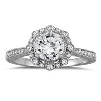 1 1/5 Carat TW Diamond Halo Engagement Ring in 14K White Gold
