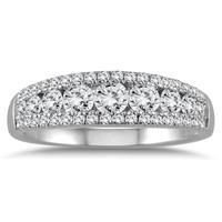9 Stone Diamond Band in 10K White Gold