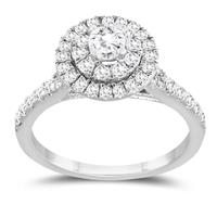 1 Carat TW Diamond Double Halo Engagement Ring in 10K White Gold