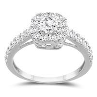 1 1/5 Carat TW Diamond Halo Engagement Ring in 10K White Gold