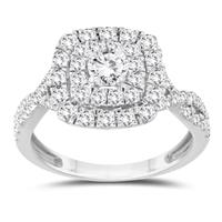 1 1/3 Carat TW Diamond halo Engagement Ring in 10K White Gold