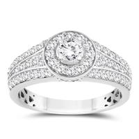 1 Carat TW Diamond Halo Engagement Ring in 10k White Gold