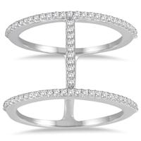 1/3 Carat TW Double Row Diamond Ring in 10K White Gold