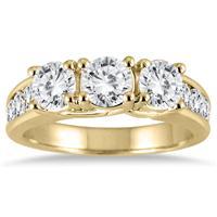 2 Carat TW Diamond Three Stone Ring in 14K Yellow Gold