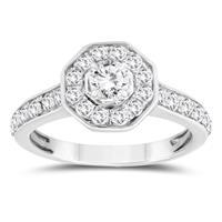 1 Carat TW Diamond Halo Ring in 10K White Gold