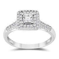 3/4 Carat TW Princess Diamond Engagement Ring in 10K White Gold