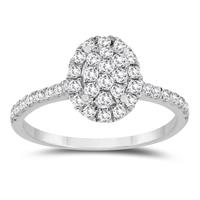5/8 Carat TW Diamond Cluster Engagement Ring in 10K White Gold