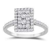 3/4 Carat TW Diamond Cluster Ring in 10k White Gold