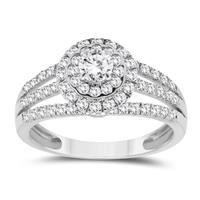 1 Carat TW Diamond Halo Engagement Ring in 10K White Gold