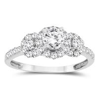 1 Carat TW Three Stone Diamond Engagement Ring in 10k White Gold