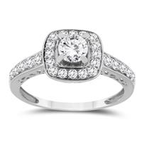 7/8 Carat TW Diamond Halo Engagement Ring in 10K White Gold