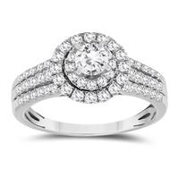 3/4 Carat TW Diamond Halo Engagement Ring in 10K White Gold