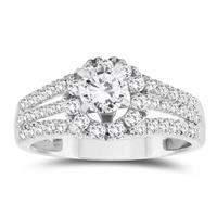 1 Carat TW Diamond Split Shank Halo Engagement Ring in 10k White Gold