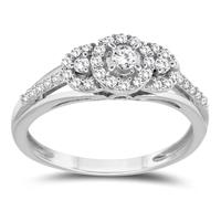 1/3 Carat TW Three Stone Halo Ring in 10K White Gold