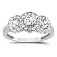 1 1/10 Carat Diamond Three Stone Engagement Ring in 10K White Gold