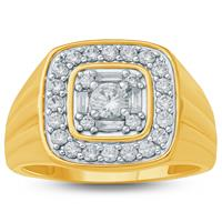 1 1/6 Carat TW  Mens Diamond Ring in 10K Yellow Gold