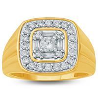 1 1/6 Carat TW  Mens Diamond Ring in 10K Yellow Gold