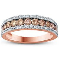 1 1/10 Carat TW Brown And White Diamond  Band in 10K Rose  Gold