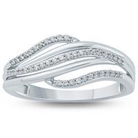 1/6 Carat TW  Diamond Fashion Ring 10K White  Gold