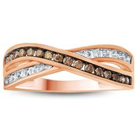 1/3 Carat TW Brown and White Diamond Ring 10K Rose  Gold