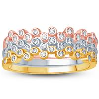 Diamond Stackable Rings in 10K Tri-Colored Gold