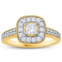 3/4 Carat TW Diamond Halo Engagement Ring in 10K Yellow Gold