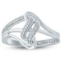 1/10 Carat TW Diamond Wave Ring 10K White  Gold