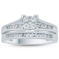 1/2 Carat TW Diamond Engagement Ring and Matching Wedding Band Set in 10K White Gold