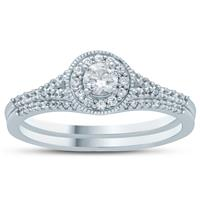 1/2 Carat TW Diamond Engagement Ring and Wedding Band Set in 10K White Gold