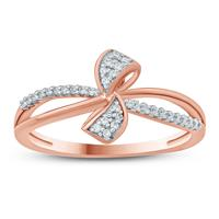 1/10  Carat TW Diamond Ribbon Ring in 10K Rose Gold