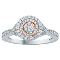1/3 Carat TW Diamond Halo Engagement Ring in 10K Two Tone  Gold