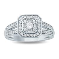 1/2 Carat TW Baguette and Round Diamond Halo Engagement Ring in 10K White  Gold
