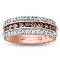 1 Carat TW Brown and White Diamond Ring in 10K Rose Gold