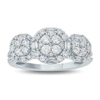 1 Carat TW Baguette and Round Diamond Three Stone Styled Cluster Ring in 10K White Gold