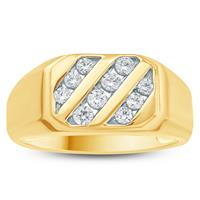 1/2 Carat TW Mens Diamond Ring in 10K Yellow  Gold
