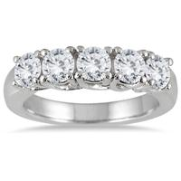 2 Carat TW Five Stone Diamond Wedding Band in 14K White Gold