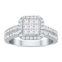 AGS Certified 1 Carat TW Invisible Princess Diamond Halo Engagement Ring in 10K White Gold