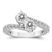 1 1/2 Carat TW Two Stone Diamond Ring in 14K White Gold