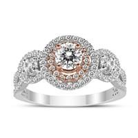 1 Carat TW Three Stone Diamond Halo Ring in 14K White with 14K Rose Gold