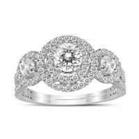1 Carat TW Three Stone Diamond Halo Ring in 14K White Gold