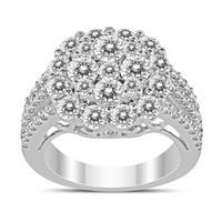 3 Carat TW Diamond Blossom Ring in 14K White Gold