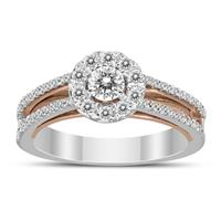 5/8 Carat TW Diamond Halo Engagement Ring in 14K Two Tone Gold