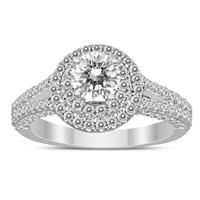 1 3/8 Carat TW Double Halo Split Shank Diamond Engagement Ring in 14K White Gold