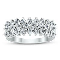 Deals on 1/4 Carat Tw Diamond Triple Row Splendor Ring In .925 Silver