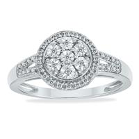 Deals on 1/10 Carat TW Diamond Halo Ring In .925 Sterling Silver