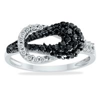 Black And White Diamond Knot Ring in .925 Sterling Silver