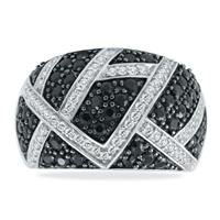 Black and White Diamond Cluster Ring in .925 Sterling Silver