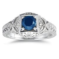 Sapphire and Diamond Antique Byzantine Ring in 14K White Gold
