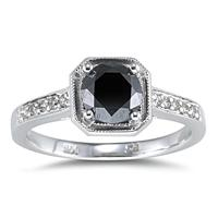 1 Carat Black Diamond Ring in 14K White Gold